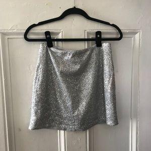 Forever 21 silver sequin skirt M